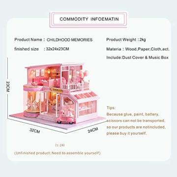 Fsolis Miniatura casa delle Bambole con mobili,3D Fai da Te Kit di Dollhouse di Legno Oltre a Prova di Polvere e Il Movimento della Musica Regalo Creativo - 4