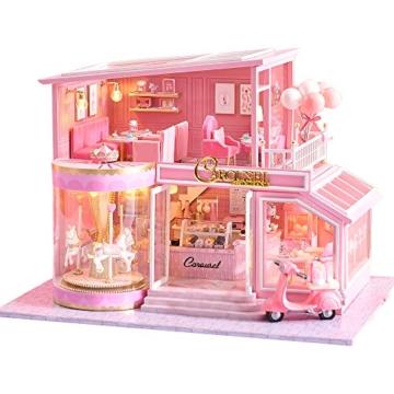 Fsolis Miniatura casa delle Bambole con mobili,3D Fai da Te Kit di Dollhouse di Legno Oltre a Prova di Polvere e Il Movimento della Musica Regalo Creativo - 1
