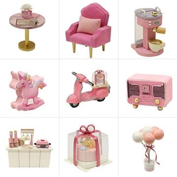 Fsolis Miniatura casa delle Bambole con mobili,3D Fai da Te Kit di Dollhouse di Legno Oltre a Prova di Polvere e Il Movimento della Musica Regalo Creativo - 5