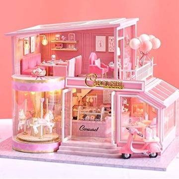 Fsolis Miniatura casa delle Bambole con mobili,3D Fai da Te Kit di Dollhouse di Legno Oltre a Prova di Polvere e Il Movimento della Musica Regalo Creativo - 6