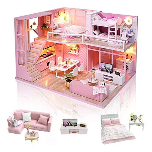 GuDoQi Kit da Casa di Bambole in Legno, Casa delle Bambole in Miniatura Fai da Te con Mobili e Musica, Modello Mini Appartamento Fatto a Mano per Adulti, Dream Angels - 1
