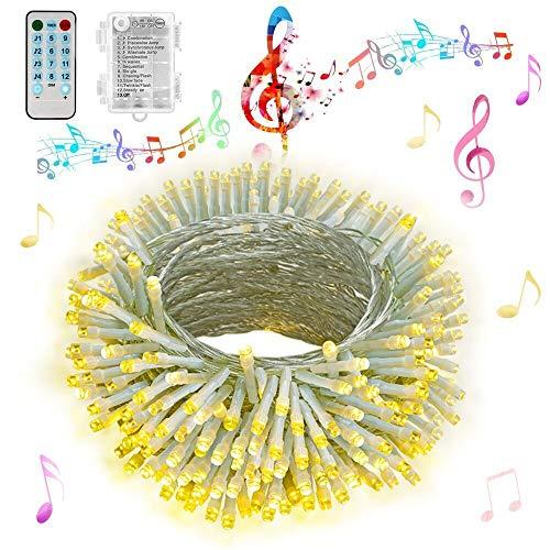 Hezbjiti Luci a batteria, 100 luci a LED attivate da 10 m Fairy, con telecomando, timer, luci a batteria impermeabili sincronizzate con musica per feste, casa, decorazioni natalizie (Bianco Caldo) - 1