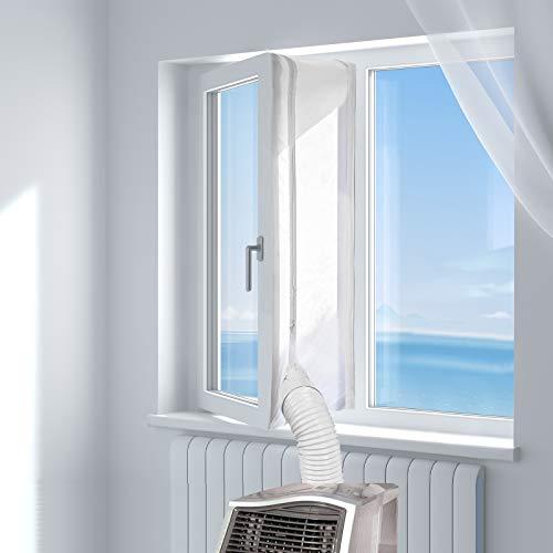 HOOMEE 300CM Guarnizione Universale per Finestre per Condizionatore Portatile, Asciugatrice – Per Tutti Climatizzatori Mobili, Facile da Montare – Con zip, Chiusura a Strappo - 1