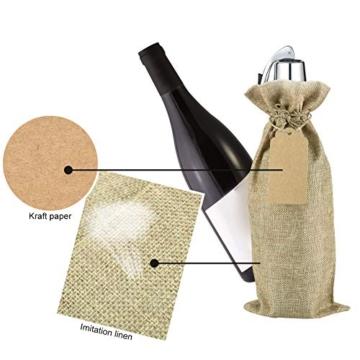 Irich Sacchetti Portabottiglie Vino con Coulisse, 12 Pezzi Riutilizzabili Borse Porta Vino e Etichette per Oro Argento Rosso Vino Champagne Spumante (Canapa Colore) - 2
