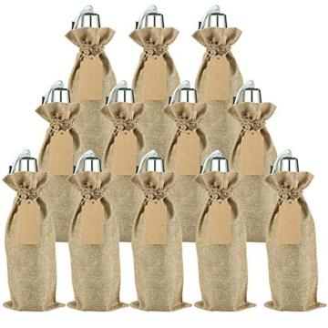 Irich Sacchetti Portabottiglie Vino con Coulisse, 12 Pezzi Riutilizzabili Borse Porta Vino e Etichette per Oro Argento Rosso Vino Champagne Spumante (Canapa Colore) - 1