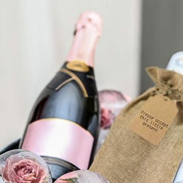 Irich Sacchetti Portabottiglie Vino con Coulisse, 12 Pezzi Riutilizzabili Borse Porta Vino e Etichette per Oro Argento Rosso Vino Champagne Spumante (Canapa Colore) - 5