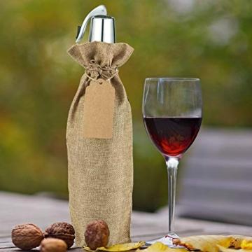 Irich Sacchetti Portabottiglie Vino con Coulisse, 12 Pezzi Riutilizzabili Borse Porta Vino e Etichette per Oro Argento Rosso Vino Champagne Spumante (Canapa Colore) - 7