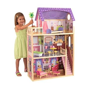 KidKraft 65092 Casa legno Kayla per bambole di 30cm con 10 accessori inclusi e 3 livelli di gioco, Multicolore - 1