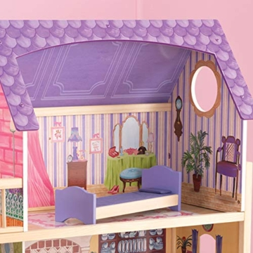 KidKraft 65092 Casa legno Kayla per bambole di 30cm con 10 accessori inclusi e 3 livelli di gioco, Multicolore - 5