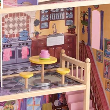 KidKraft 65092 Casa legno Kayla per bambole di 30cm con 10 accessori inclusi e 3 livelli di gioco, Multicolore - 7