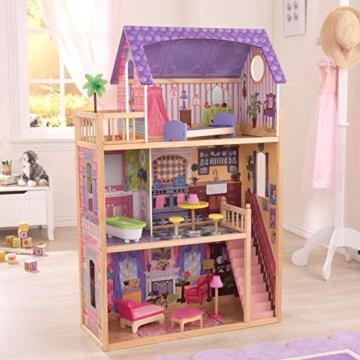 KidKraft 65092 Casa legno Kayla per bambole di 30cm con 10 accessori inclusi e 3 livelli di gioco, Multicolore - 9