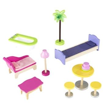 KidKraft 65092 Casa legno Kayla per bambole di 30cm con 10 accessori inclusi e 3 livelli di gioco, Multicolore - 10
