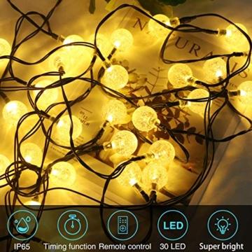 Kolpop Catena Luminosa, [2 Pezzi] Luci Esterno Batteria 4.5M 30LED Luci Stringa Decorative Luci Natalizie da Esterno e Interno Impermeabile con 8 Modalità per Balcone, Giardino, Feste (Bianco Caldo) - 3