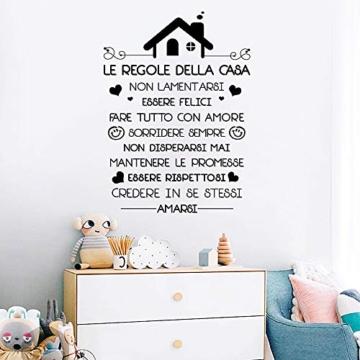 Le Regole della Casa Italiano Adesivi da Parete Muro Adesivo Murali Decorativo Decorazione fai da te Domestica Porta Camera da Letto Soggiorno - 2