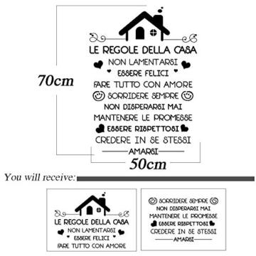 Le Regole della Casa Italiano Adesivi da Parete Muro Adesivo Murali Decorativo Decorazione fai da te Domestica Porta Camera da Letto Soggiorno - 3