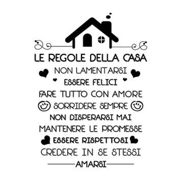 Le Regole della Casa Italiano Adesivi da Parete Muro Adesivo Murali Decorativo Decorazione fai da te Domestica Porta Camera da Letto Soggiorno - 1