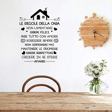 Le Regole della Casa Italiano Adesivi da Parete Muro Adesivo Murali Decorativo Decorazione fai da te Domestica Porta Camera da Letto Soggiorno - 5