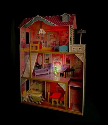 Leomark exclusive Residence, villa casa delle bambole del legno a 3 piani, con arredamento e accessori, casetta bambole con rosa ascensore plus illuminazione a LED, dimensioni: 85,5x33x121 cm (LxPxA) - 2