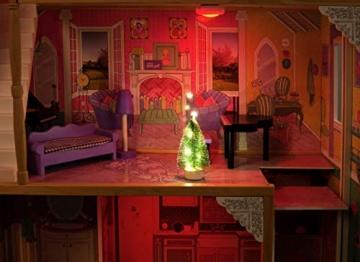 Leomark exclusive Residence, villa casa delle bambole del legno a 3 piani, con arredamento e accessori, casetta bambole con rosa ascensore plus illuminazione a LED, dimensioni: 85,5x33x121 cm (LxPxA) - 3