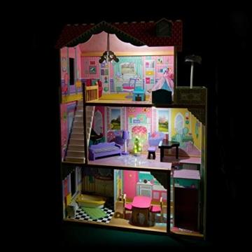 Leomark exclusive Residence, villa casa delle bambole del legno a 3 piani, con arredamento e accessori, casetta bambole con rosa ascensore plus illuminazione a LED, dimensioni: 85,5x33x121 cm (LxPxA) - 4