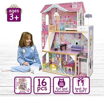 Leomark exclusive Residence, villa casa delle bambole del legno a 3 piani, con arredamento e accessori, casetta bambole con rosa ascensore plus illuminazione a LED, dimensioni: 85,5x33x121 cm (LxPxA) - 5