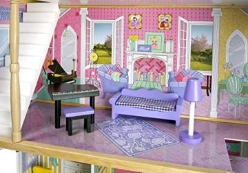 Leomark exclusive Residence, villa casa delle bambole del legno a 3 piani, con arredamento e accessori, casetta bambole con rosa ascensore plus illuminazione a LED, dimensioni: 85,5x33x121 cm (LxPxA) - 6