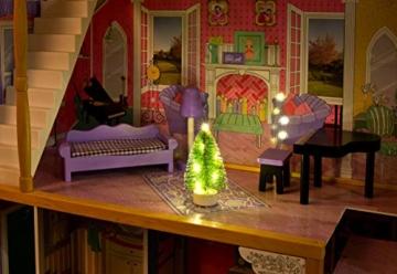 Leomark exclusive Residence, villa casa delle bambole del legno a 3 piani, con arredamento e accessori, casetta bambole con rosa ascensore plus illuminazione a LED, dimensioni: 85,5x33x121 cm (LxPxA) - 7