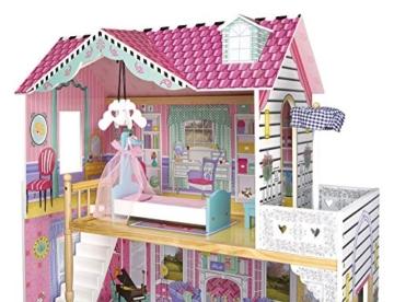 Leomark exclusive Residence, villa casa delle bambole del legno a 3 piani, con arredamento e accessori, casetta bambole con rosa ascensore plus illuminazione a LED, dimensioni: 85,5x33x121 cm (LxPxA) - 8