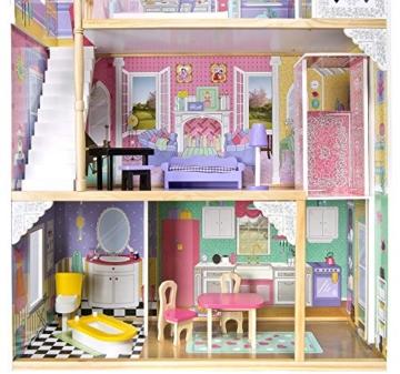 Leomark exclusive Residence, villa casa delle bambole del legno a 3 piani, con arredamento e accessori, casetta bambole con rosa ascensore plus illuminazione a LED, dimensioni: 85,5x33x121 cm (LxPxA) - 9