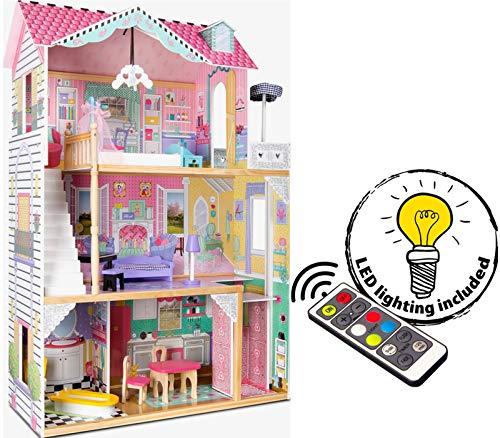 Leomark exclusive Residence, villa casa delle bambole del legno a 3 piani, con arredamento e accessori, casetta bambole con rosa ascensore plus illuminazione a LED, dimensioni: 85,5x33x121 cm (LxPxA) - 1