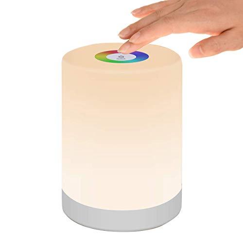 Luce Notturna LED, Lampada da Comodino Intelligente, Controllo Tattile, Dimmerabile, USB Ricaricabile, Portatile, Colore che Cambia RGB per Bambini, Camera da Letto, Campeggio (Bianco Caldo) - 1