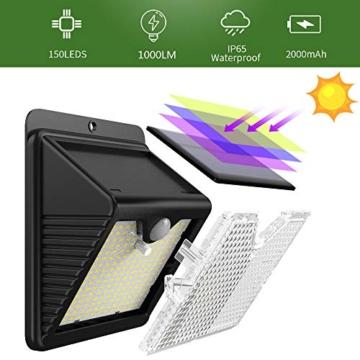 Luce Solare Led Esterno, 【6 Pezzi-1000lumen】iPosible 150 LED Lampada Solare da Esterno Luce Led Esterno Solare con Sensore di Movimento Luci Esterno Energia Solare IP65 Luci Solari per Giardino - 4