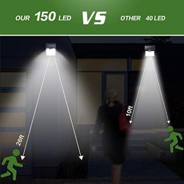 Luce Solare Led Esterno, 【6 Pezzi-1000lumen】iPosible 150 LED Lampada Solare da Esterno Luce Led Esterno Solare con Sensore di Movimento Luci Esterno Energia Solare IP65 Luci Solari per Giardino - 5
