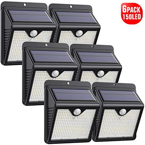 Luce Solare Led Esterno, 【6 Pezzi-1000lumen】iPosible 150 LED Lampada Solare da Esterno Luce Led Esterno Solare con Sensore di Movimento Luci Esterno Energia Solare IP65 Luci Solari per Giardino - 1