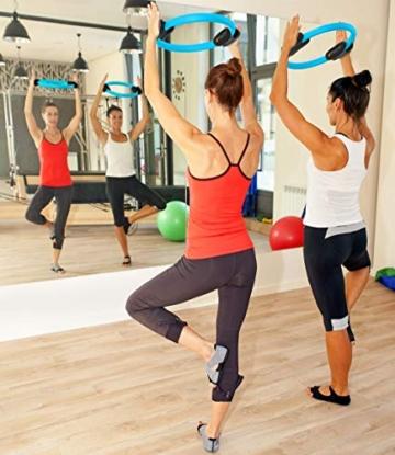 MANTRA SPORTS Ring Pilates Magic Circles – Anello Pilates per Tonificare e Sviluppare la Muscolatura di Interno e Esterno Coscia – Yoga Wheel - Attrezzi Palestra Casa con Poster e Custodia - 2