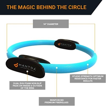MANTRA SPORTS Ring Pilates Magic Circles – Anello Pilates per Tonificare e Sviluppare la Muscolatura di Interno e Esterno Coscia – Yoga Wheel - Attrezzi Palestra Casa con Poster e Custodia - 3