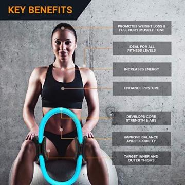 MANTRA SPORTS Ring Pilates Magic Circles – Anello Pilates per Tonificare e Sviluppare la Muscolatura di Interno e Esterno Coscia – Yoga Wheel - Attrezzi Palestra Casa con Poster e Custodia - 7