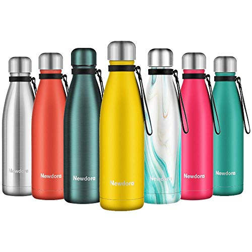 Newdora Bottiglia Acqua in Acciaio Inox 500ml, Tazze da Viaggio, Borraccia Termica Isolamento Sottovuoto a Doppia Parete, per Campeggio di Sport Esterni Escursionismo Escursioni in Bicicletta, Giallo - 1
