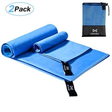 OMORC Asciugamano Microfibra, Grandi Dimensioni 160 * 80 cm, 2 PCS Asciugamano Sportivo di Asciugatura Rapida, Leggero, Assorbente, è Perfetto per Spiaggia, Yoga, Vasca da Bagno, Fitness e Outdoor - 1