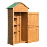 Outsunny Box Casetta Ripostiglio Porta Attrezzi da Giardino in Legno con Doppia Porta 89 x 50 x 190cm - 1