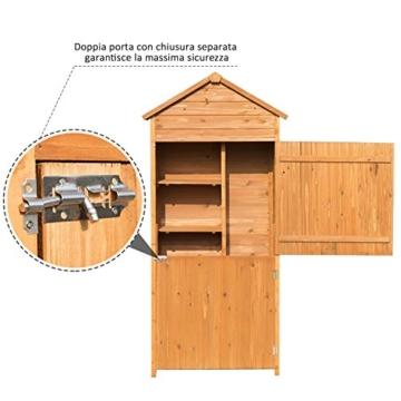 Outsunny Box Casetta Ripostiglio Porta Attrezzi da Giardino in Legno con Doppia Porta 89 x 50 x 190cm - 3
