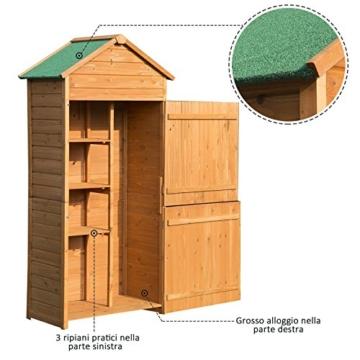 Outsunny Box Casetta Ripostiglio Porta Attrezzi da Giardino in Legno con Doppia Porta 89 x 50 x 190cm - 7