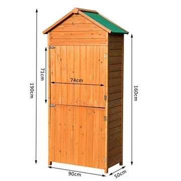 Outsunny Box Casetta Ripostiglio Porta Attrezzi da Giardino in Legno con Doppia Porta 89 x 50 x 190cm - 8