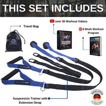 PhysioFit Suspension Trainer - attrezzi palestra casa - cavi palestra - palestra casa - attrezzi da palestra - attrezzi fitness casa - kit palestra in casa - Include Video con oltre 30 Esercizi - 2