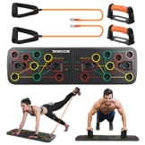 SGODDE Push Up Board, 13 in 1 Push Up Fitness System Stand, Pieghevole Multifunzionali Body Buiding Push Up Rack Board, con Fascia di Resistenza Attrezzature per il Fitness e Palestra Maniglia Push Up - 1