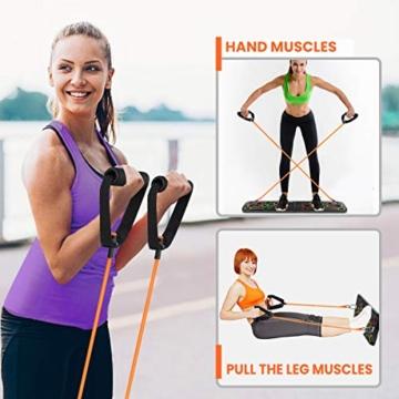 SGODDE Push Up Board, 13 in 1 Push Up Fitness System Stand, Pieghevole Multifunzionali Body Buiding Push Up Rack Board, con Fascia di Resistenza Attrezzature per il Fitness e Palestra Maniglia Push Up - 3