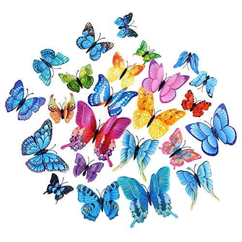 STAZSX Adesivo murale Farfalla 3D 24PCS Adesivo Farfalla Fai-da-Te Doppio per Parete Adatto per la Decorazione della Stanza dei Bambini a casa - B - 1