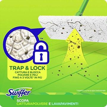 Swiffer Starter Kit Scopa con 1 Manico, 8 Panni Asciutti e 3 Panni Umidi, per Catturare e Intrappolare la Polvere - 2