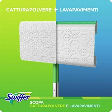 Swiffer Starter Kit Scopa con 1 Manico, 8 Panni Asciutti e 3 Panni Umidi, per Catturare e Intrappolare la Polvere - 3