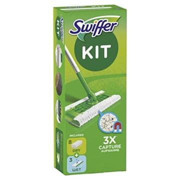 Swiffer Starter Kit Scopa con 1 Manico, 8 Panni Asciutti e 3 Panni Umidi, per Catturare e Intrappolare la Polvere - 4